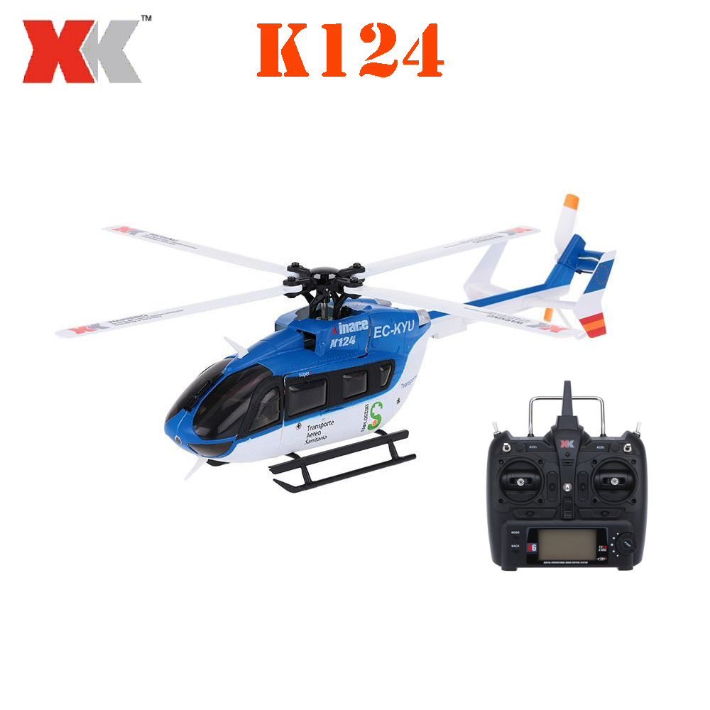 Original XK EC145 K124 6CH 3D 6G System Brushless Motor RTF RC Helicopter original xk k124 bnf without tranmitter ec145 6ch brushless motor 3d 6g system rc helicopter compatible with futaba s fhss