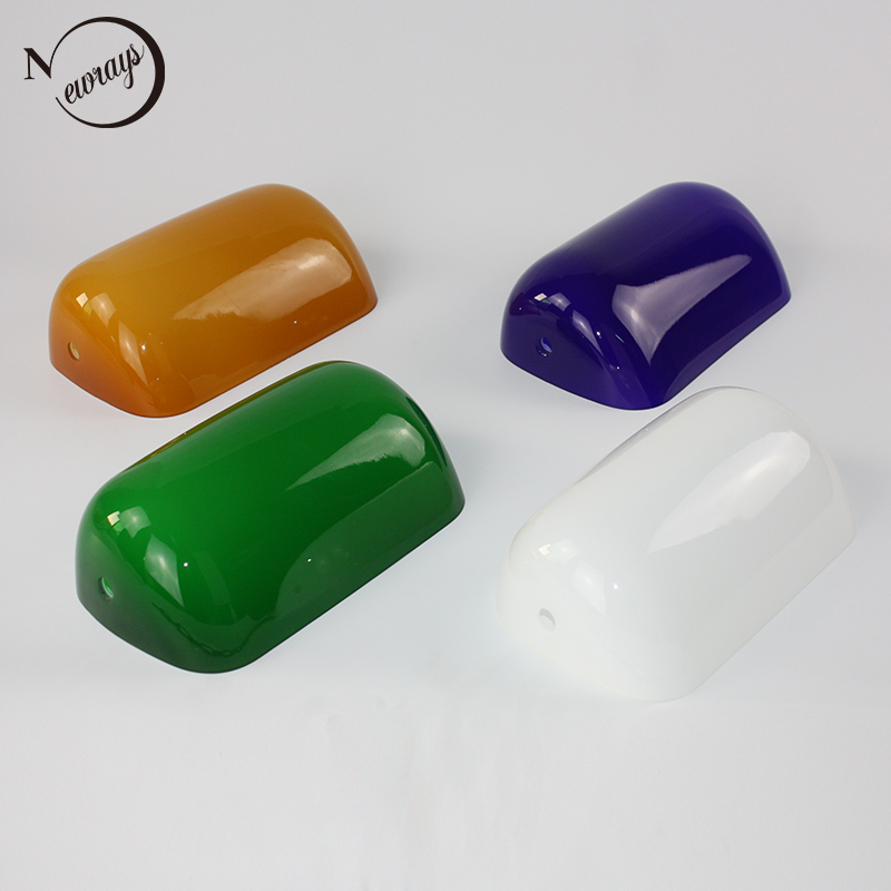 White / green / blue / amber color glass lampshade bankers lamp shade cover Lighting accessories standard size 227mm