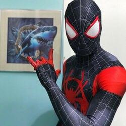 Disfraz de Hombre Araña de Miles Morales estampado en 3D en el traje de superhéroe de araña para halloween cosplay mono