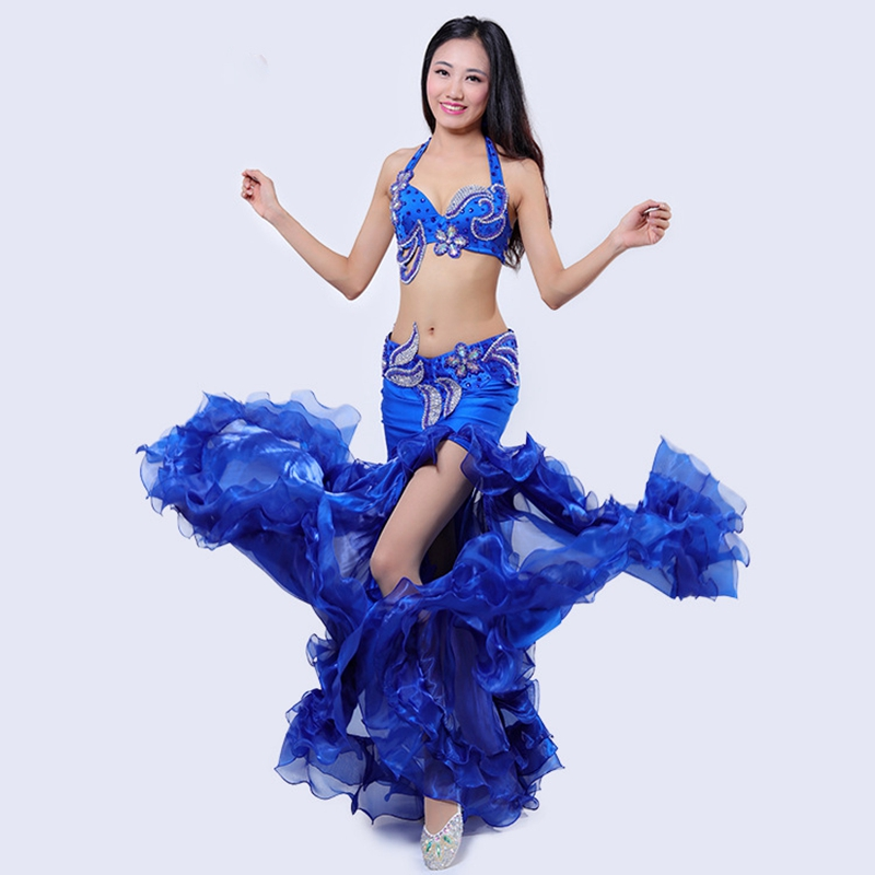 Women Stage Performance Belly Dance 2pcs Bra Belt Luxury Belly Dancing Egyptian Costumes Oriental Style Rhinestone Costume