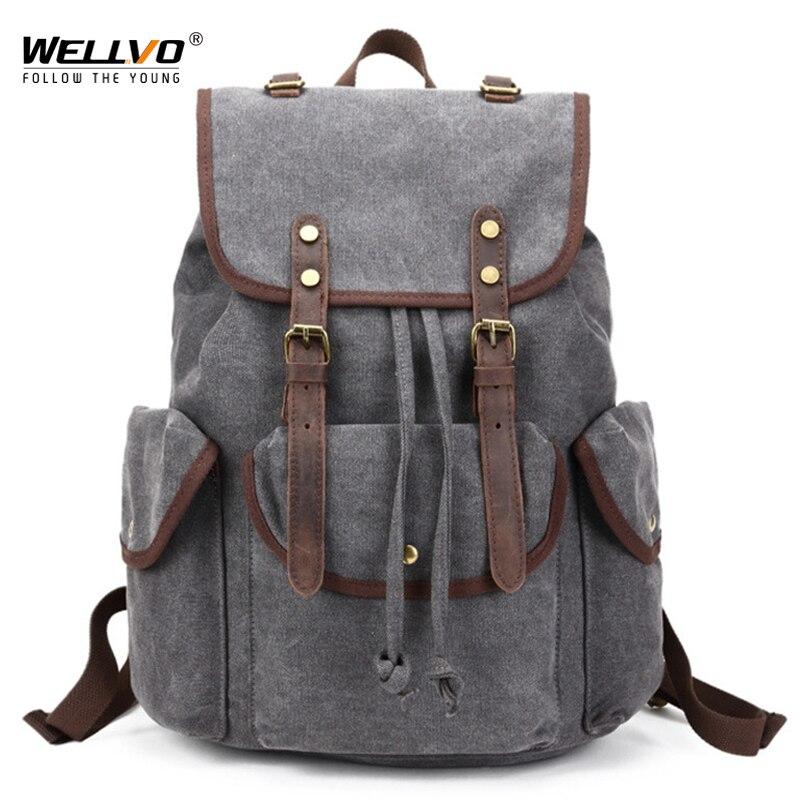 2018Men's Vintage Canvas Backpack School Male Drawstring Leather Buckle Rucksack Travel Shoulder Bag Tourist Bags Mochila XA49WC