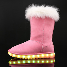 2017 Brand winter children shoes girl and boy boots water-proof leather kids snow boots plush USB charge luminou shoes