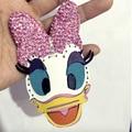 Minnie Mickey Donald Daisy Duck Keychain Mouse Rhinestone Leather Hand Key Chain Cartoon Cute Couple  Key Ring Best Gift