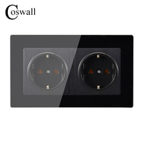 Coswall Wall Crystal Glass Panel Power Socket Grounded 16A EU Standard Electrical Black Double Outlet 146mm