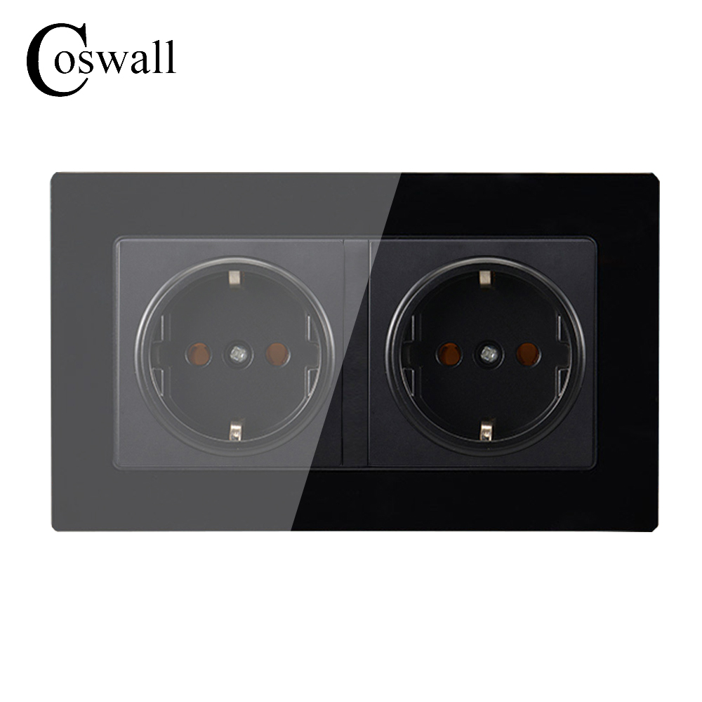 Coswall Wall Crystal Glass Panel Power Socket Grounded 16A EU Standard Electrical Black Double Outlet 146mm * 86mm atlantic brand double tel socket luxury wall telephone outlet acrylic crystal mirror panel electrical jack