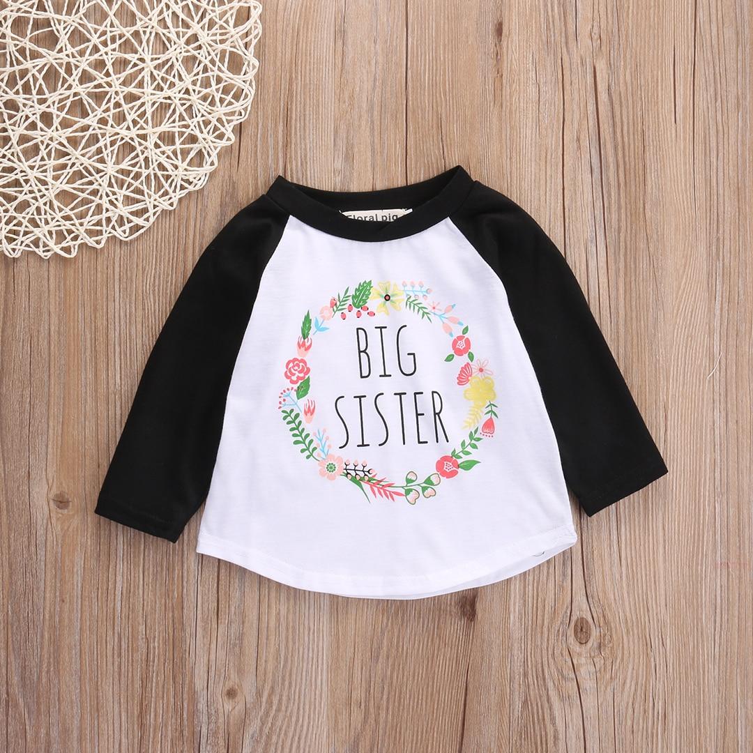 T-Shirts Long-Sleeve Toddler Baby-Girls Kids Summer Letter O-Neck Streetwear Big Sister