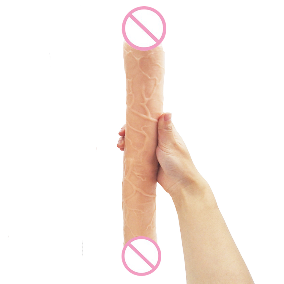 camaTech 45CM Silicone Double Head Dildo Super Long Double-Ended Dildo Huge Flexible Dong Dual Realistic Glans Penis For Lesbian long double dildo double dong huge dildo realistic male artificial penis dildo gay adult sex toys for women lesbian double ended