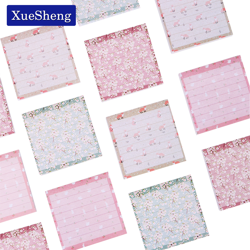 80 Pages Small Fresh Flower Printing Color Stripes Memo Pads Horizontal Line Notes Posted N Times Notes Convenience Stickers posted