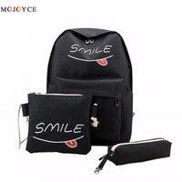Summer Women Canvas 3Set Backpack Printing Students Bookbag 3 Pcs School Bag Set For Youth Girls