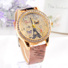 Famous Fashion women watch Paris Style Tower Butterfly PU Leather Women classic Watch gift relogio feminino Dropshipping NMB23