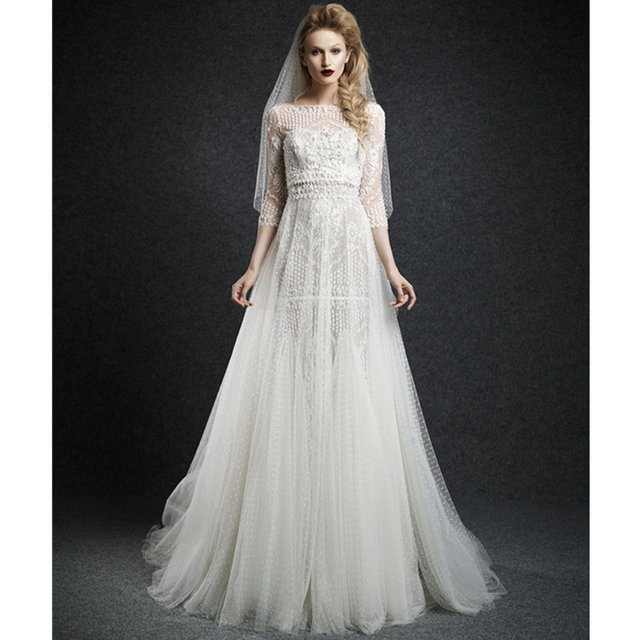 Latest Gown Designs Fashionable Long Sleeve Lace Applique Cheap ...