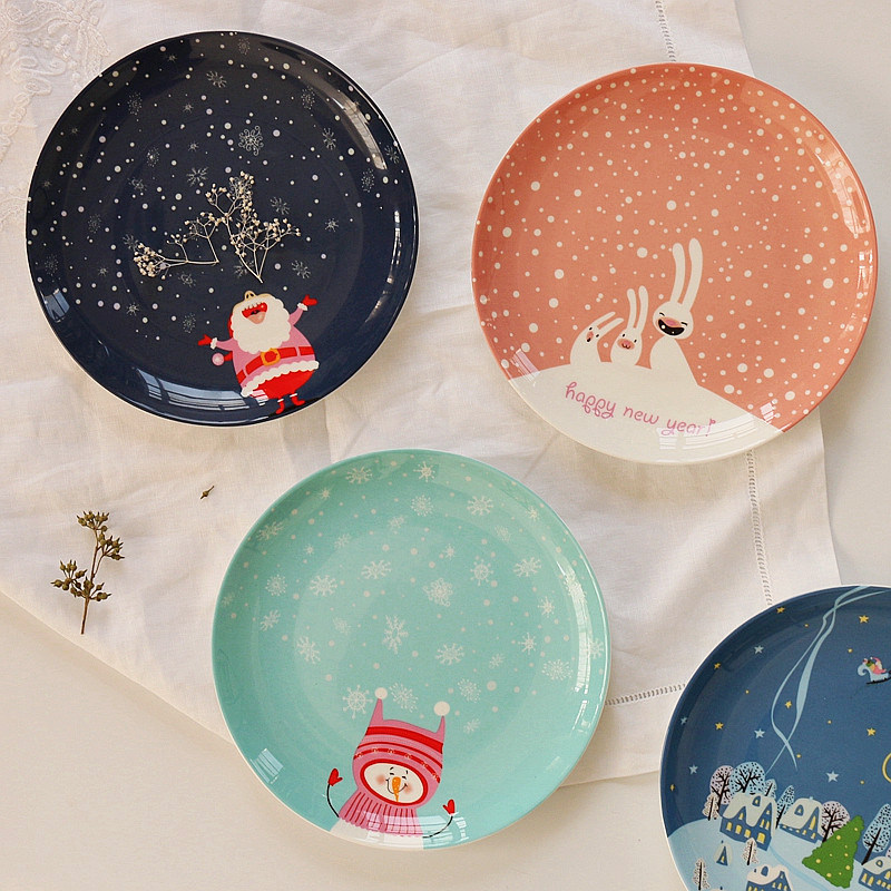 High Quality Wester Food Steak Bone China Dishes & Plates Ceramic In-glazed Decoration Round Dessert Christmas Gift New Year 1pc