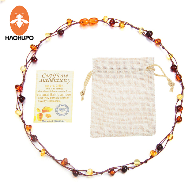 HAOHUPO New Natural Amber Jewelry Flower Multicolor Baltic Amber Bead Necklace f