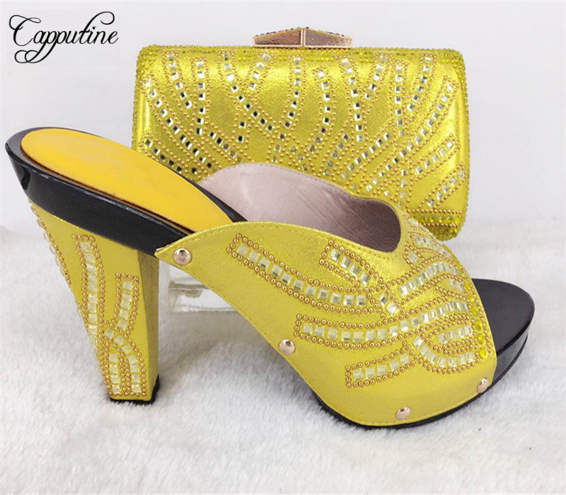 Capputine New Arrival Rhinestone Slipper Shoes And Matching Bag Set Africa Style High Heels Shoes And Bag Set Evening Party  africa style pumps shoes and matching bags set fashion summer style ladies high heels slipper and bag set for party ths17 1402
