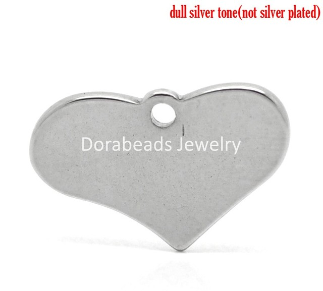 8SEASONS 20PCs Silver Tone Stainless Steel Blank Stamping Tags Love Heart Charm Pendants 19mmx12mm (B19197),