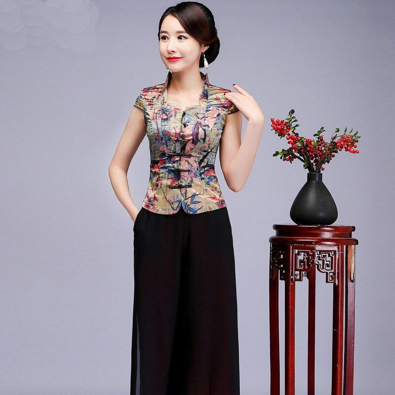 Summer Women Handmade Button Shirt Chinese Vintage Mother Business Clothing Sexy Satin Mandarin Collar Short Sleeve