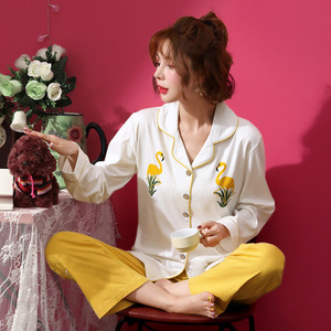 Image 2 - Frauen Schlaf Lounge Elegante Floral Pyjama Set Herbst Baumwolle Hemd und Hose Zwei Stücke Nachtwäsche Sexy Mantel Set Casual Homewear