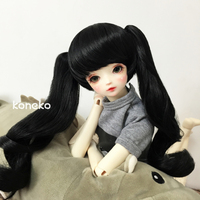 Allaosify 1/3 1/4 giant baby bjd doll wig double horsetail curls black coffee white hair