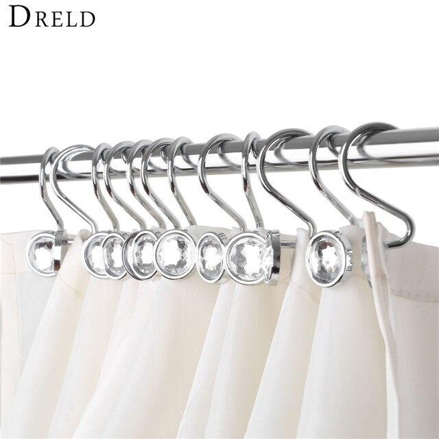 DRELD 12pcs Glide Rings Curtain Hooks Fashion Rhinestones Shower ...