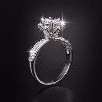プロモーション!!!フラワーデザイン固体100% 925スターリングシルバー結婚指輪ジュエリー用女