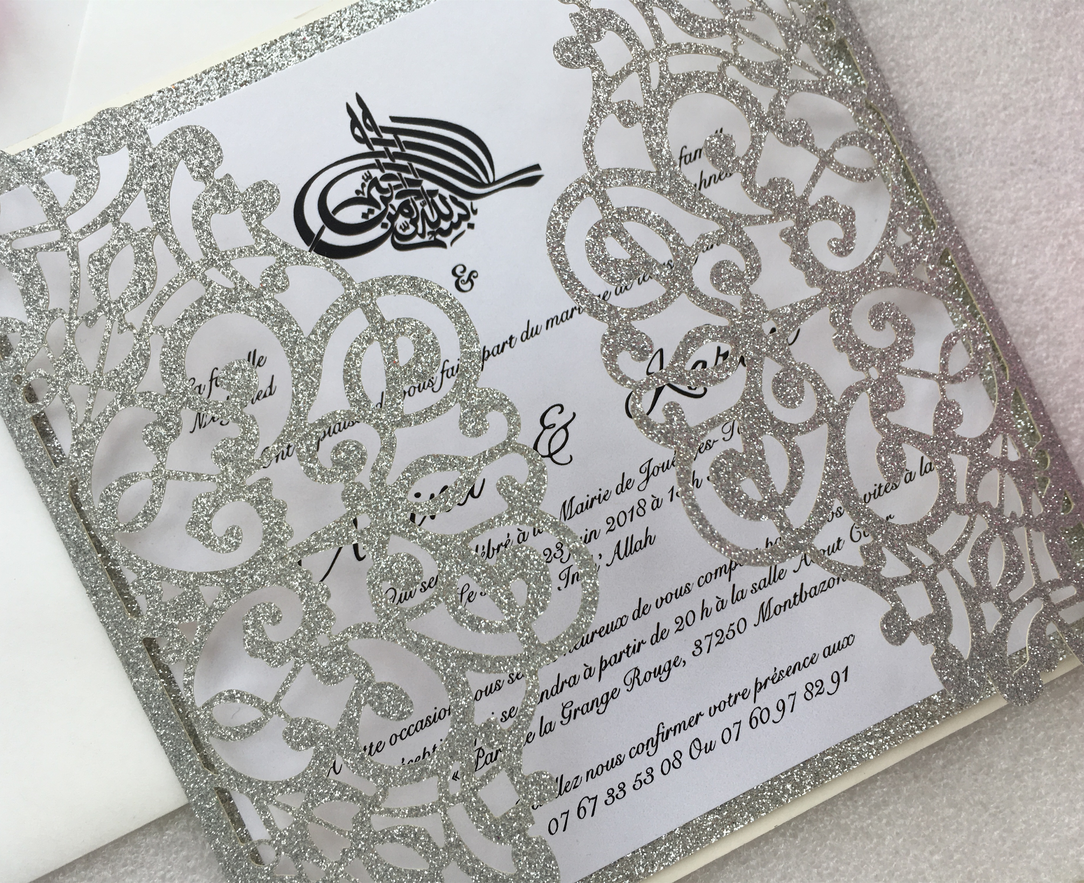 Laser Cut Glitter Silver Wedding Party Invitations, Customized Marriage Engagement Invitation Cards, 50PCS, Express Shipping-in Cards & Invitations from Home & Garden    2