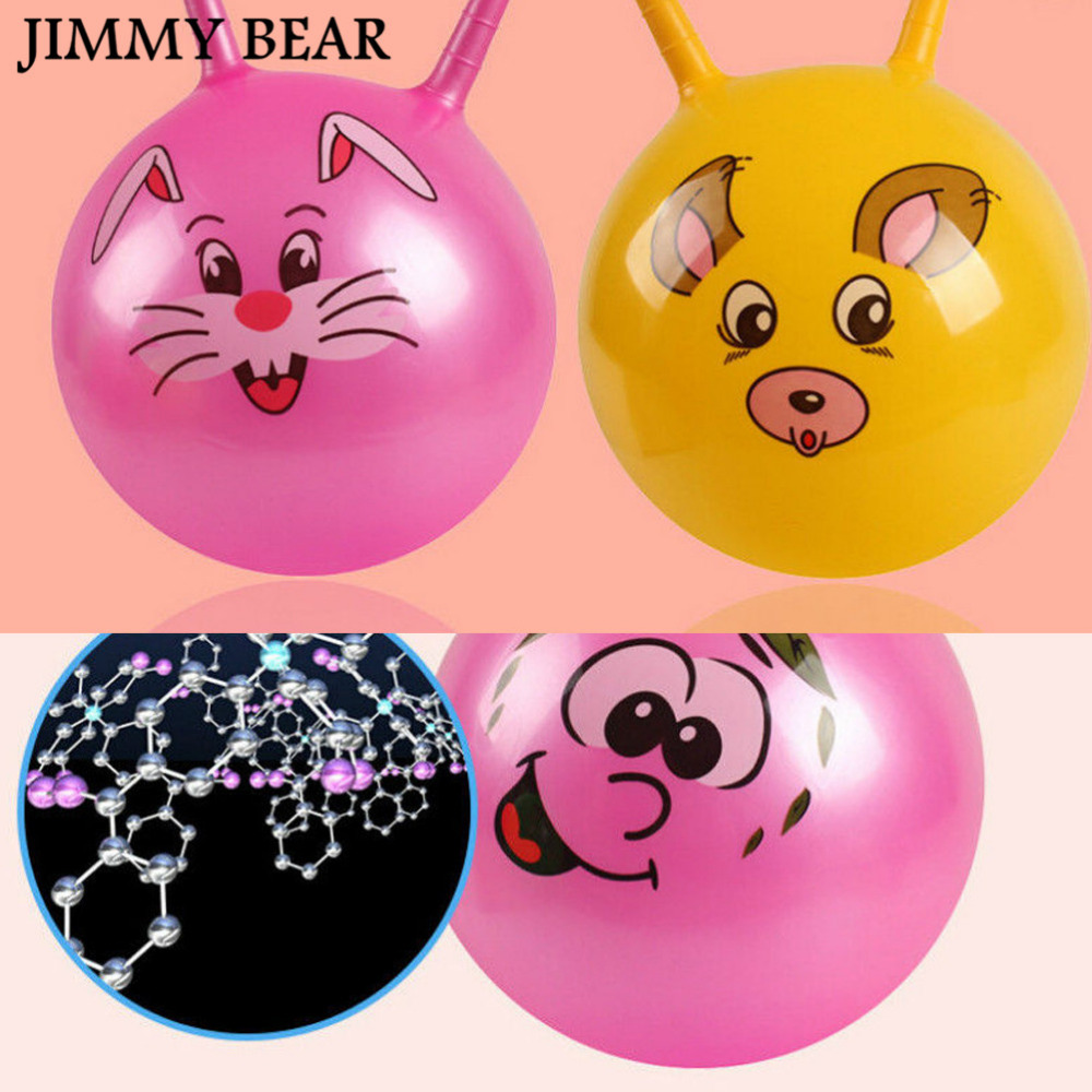 JIMMY BEAR 3 Pcs/Set Inflatable Bouncing Ball Sport Toy Cartoon Animal Educational Ball for Baby Color Random