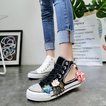 Spring hollow tie handmade custom canvas shoes shell head rhinestone flower lace high cut casual flat shoes women