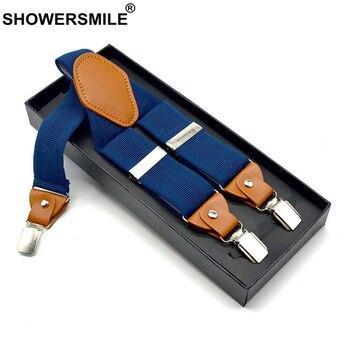 SHOWERSMILE Men Suspenders Elastic Y Back Suspender for 3 Clips Casual Dark Blue Male Braces Trouses 120cm