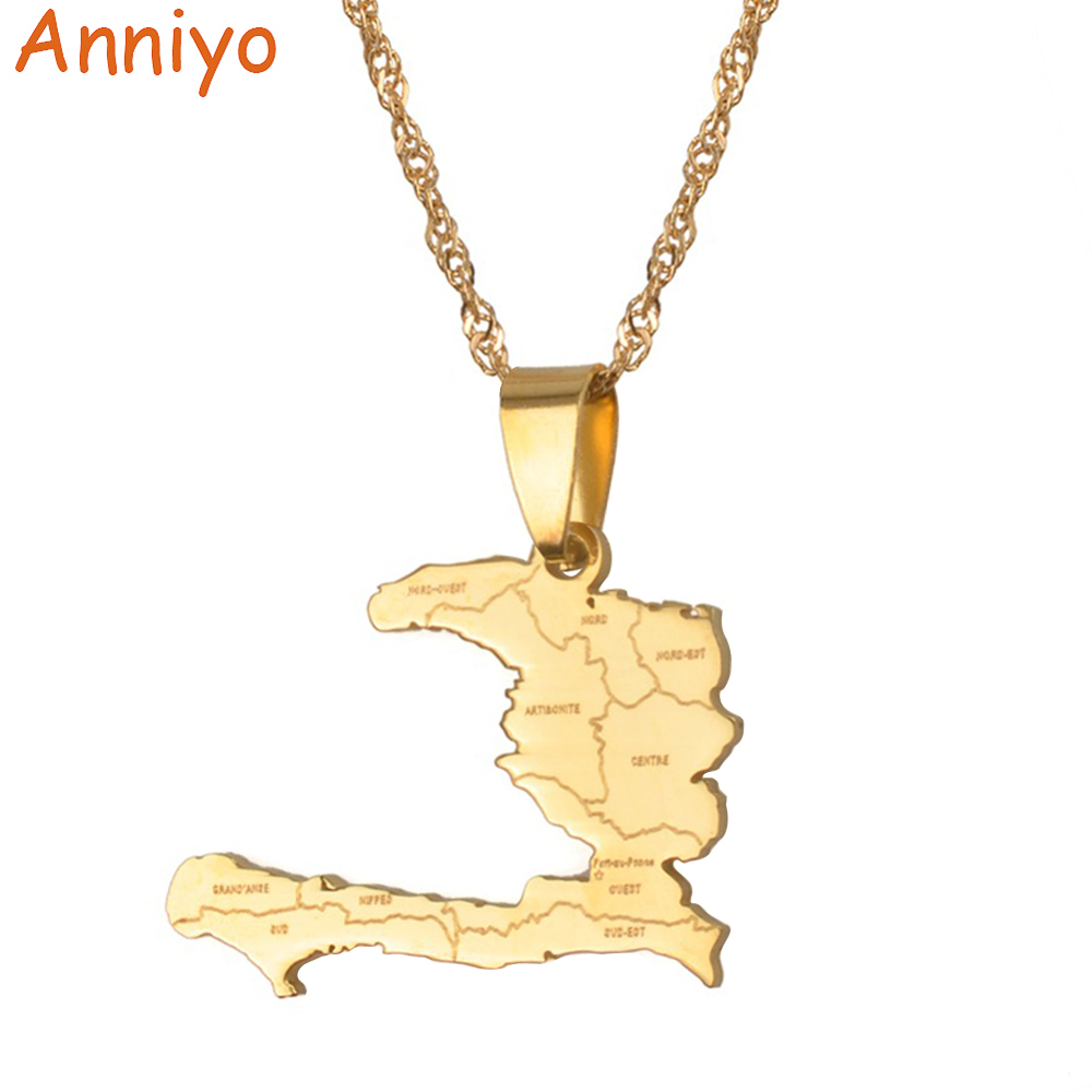 Anniyo Haiti Country Map With State Name Pendant & Necklaces for Women/Girls,Ayiti Gold Color Jewelry Gifts Map of Haiti #019921 taylor j a map for wrecked girls