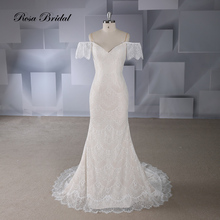 Rosabridal  Mermaid Wedding Dress 2019 New Style Champagne off shoulder Spaghetti Straps Lace up Trumpet bridal gown court train