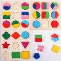 Forma do enigma 3d crianças diy brinquedos de madeira placa de correspondência geometria brinquedo para crianças 1-3 anos brinquedos