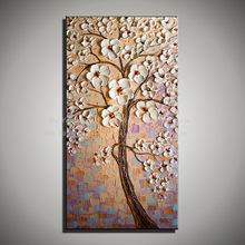 Vertical acrylic modern abstract  tree knife painting flower picture huge canvas art handmade oil painting on canvas living room