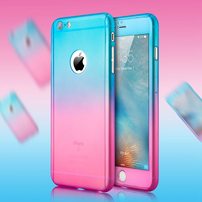 Luxury Gradient Transparent Mat Hard Pc Case For Iphone 6