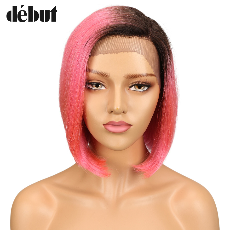Debut Lace Front Human Hair Wig Brazilian TT1B/PINK  Straight Human Hair Wigs For Black Women Short Bob Wigs With L Lace Closure