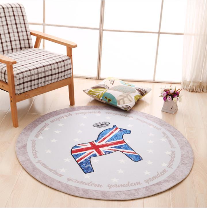 Tapis rond Simple de bande dessinée de 120 CM pour des tapis et des tapis de chambre à coucher d'enfants de salon