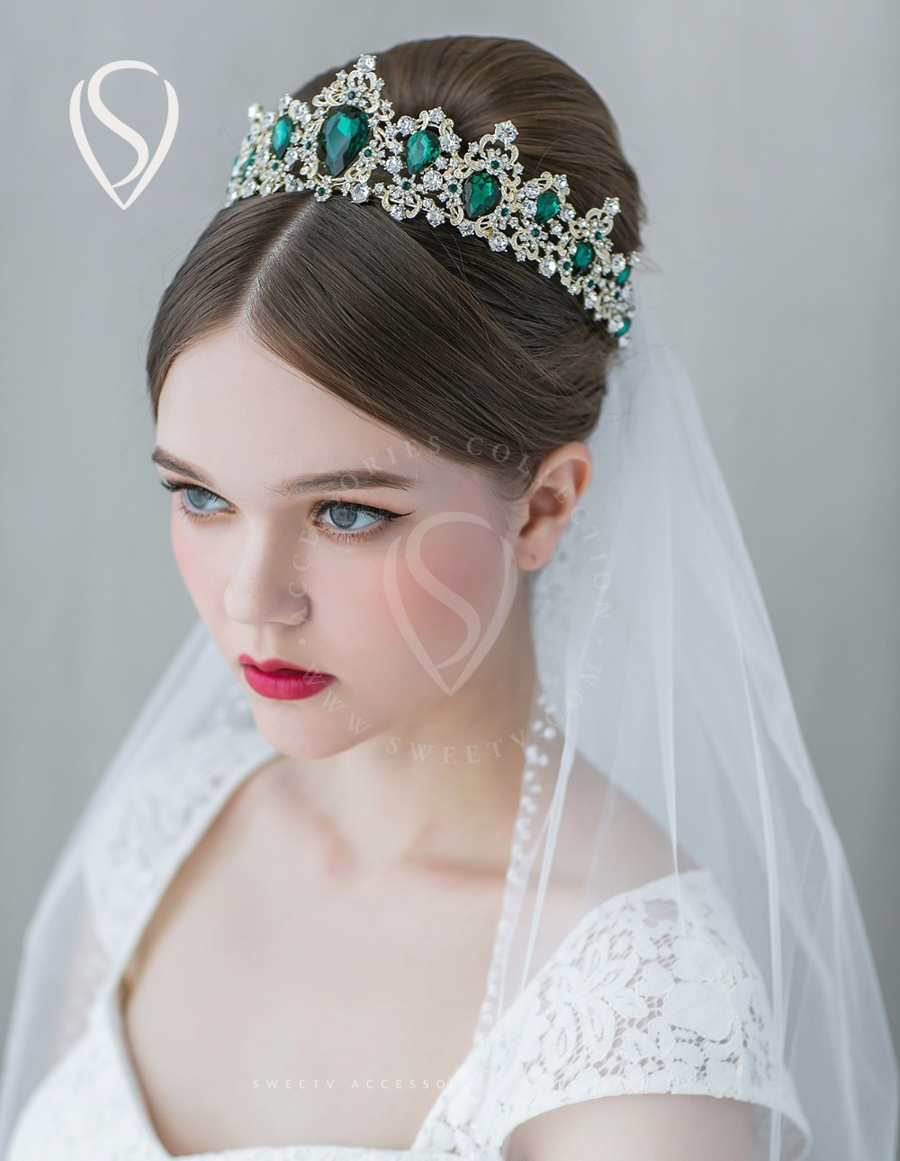 Gold rhinestone bridal headpiece with veil - Sweetv Vintage Green Cz Crystal Crown Light Gold Princess Tiara Bridal Headpieces Hair Jewelry Accessories For