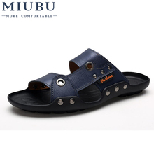 MIUBU Brand Summer Genuine Leather Mens Slippers 2019 Fashion Metal Buckle Non-slip Sandals Beach Shoes for Men