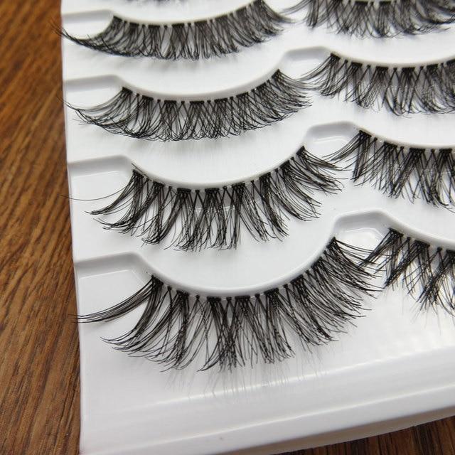 YOKPN 5 Pairs Transparent False Eyelashes Messy Cross Thick Natural Fake Eye Lashes Makeup Tips Bigeye Long False Eye Lashes 3