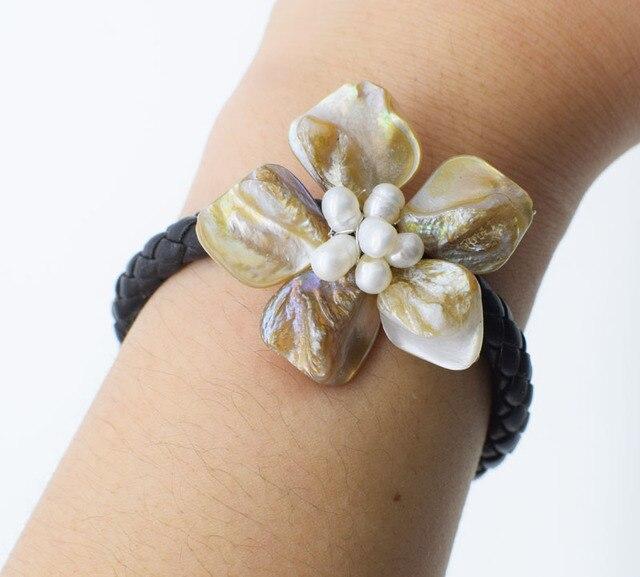 Пресноводный жемчуг белый рис и ракушки цветок ожерелье браслет