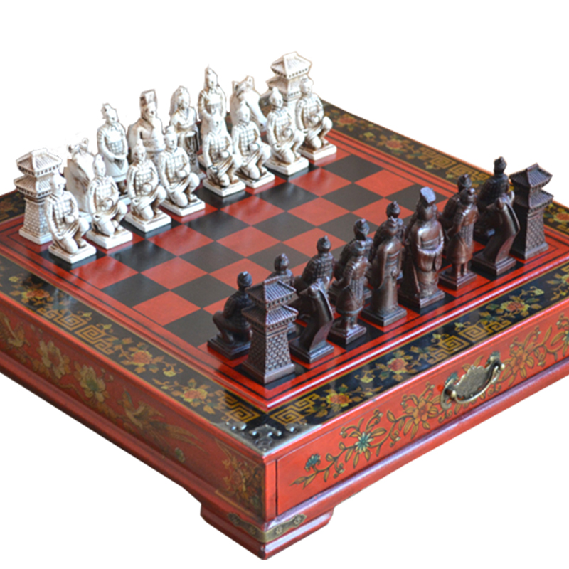 Classic Chinese Terracotta Warriors Wooden Chessboard Puzzle Cartoon Characters Chess Board Game Teenager Adult Birthday Gift 36 4 33cm cotta warrior chess q edition journey to travel cartoon characters chinese chess set chess lovers collection good gift
