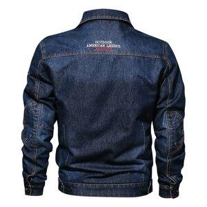 Image 2 - Мужская джинсовая куртка с отложным воротником и вышивкой, повседневные мужские джинсовые куртки с множеством карманов, ковбойские куртки, Bigig, Размер 6XL, весна осень
