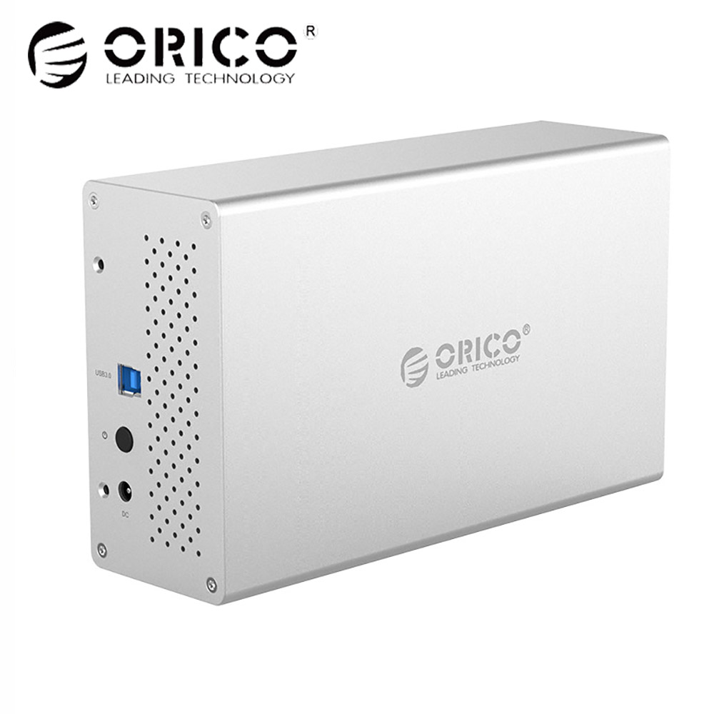 ORICO 3.5 Dual Bay HDD Enclosure Aluminum HDD case SATA to USB3.0 External Hard Drive Adapter hdd docking station Support 10TB