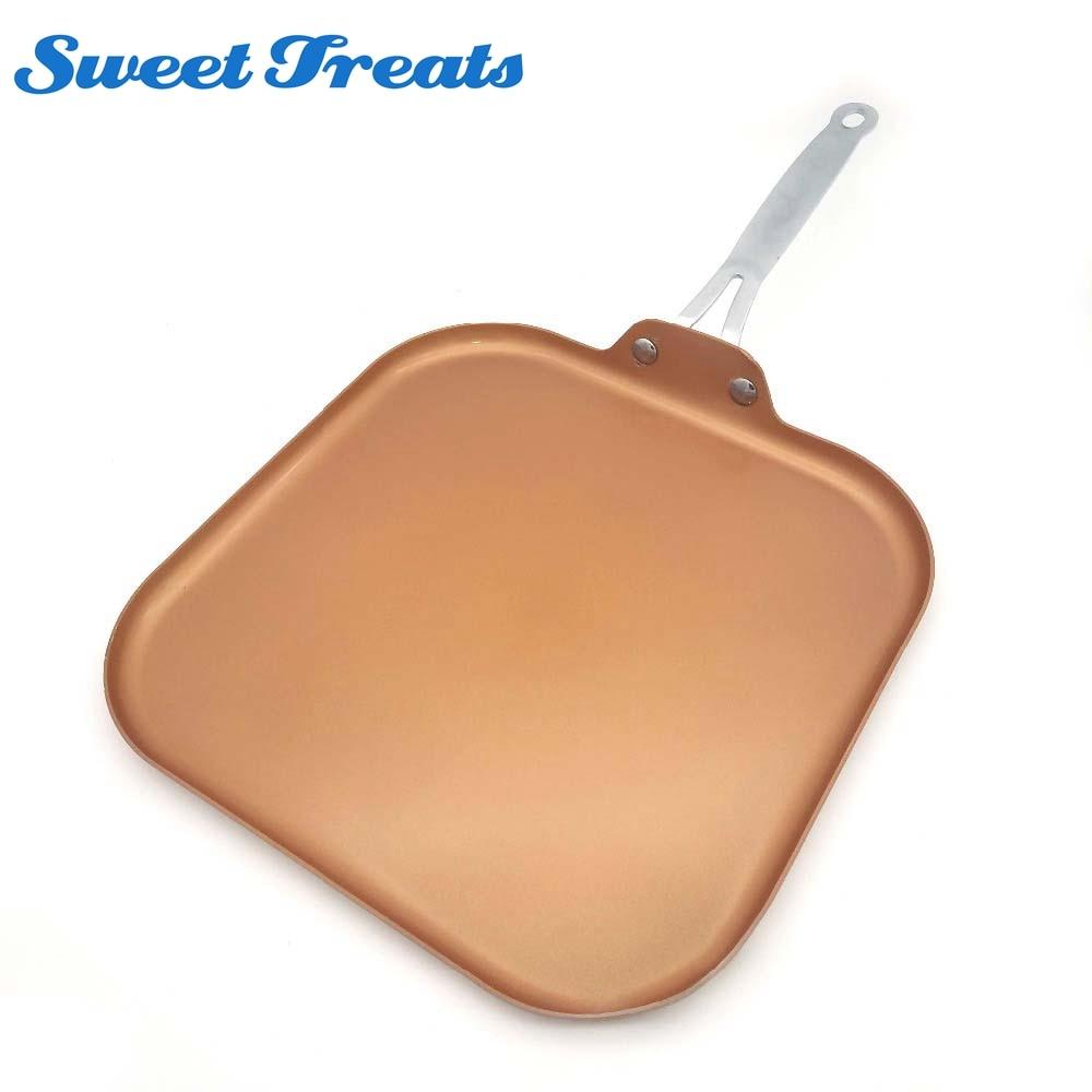 Sweettreats Padella di Rame 11-Inch Antiaderente di Rame Rivestimento In Ceramica Padella con Manico In Acciaio Inox, lavabile in Lavastoviglie Forno Sicuro PTFE