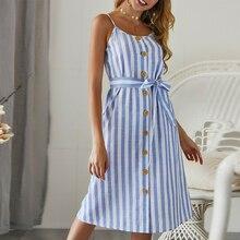 GUMPRUN 2019 Women Sexy Shoulder Strap Open Back Striped Dress Summer Casual Sleeveless Belt Button Loose Dresses Vestidos