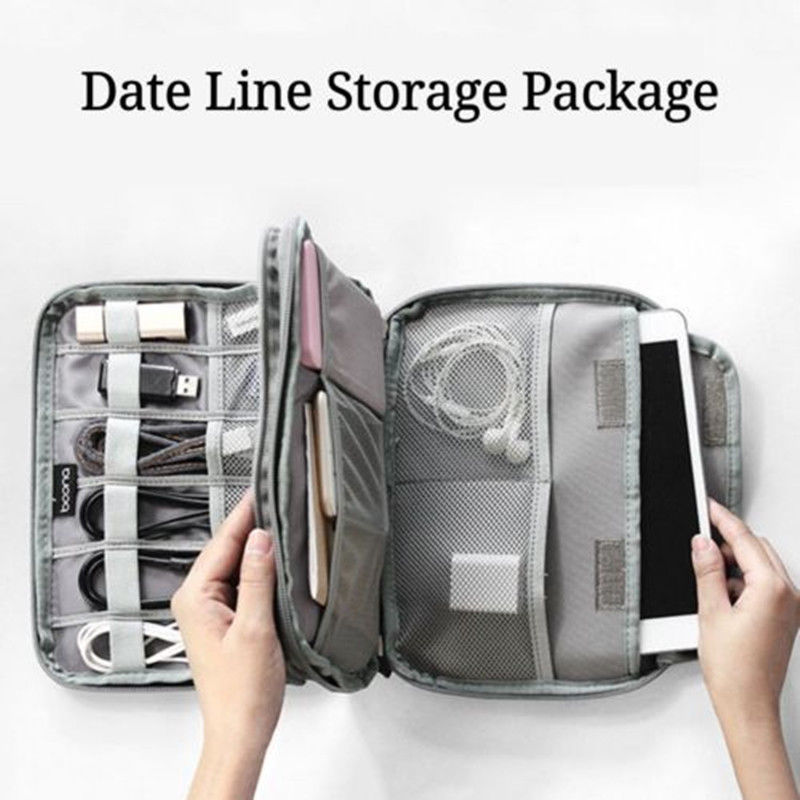 Us 2 26 20 Off Portable Travel Electronic Accessories Cable Organizer Bag Case Sd Cards Flash Drives Wires Earphones Double Layer Storage Box In