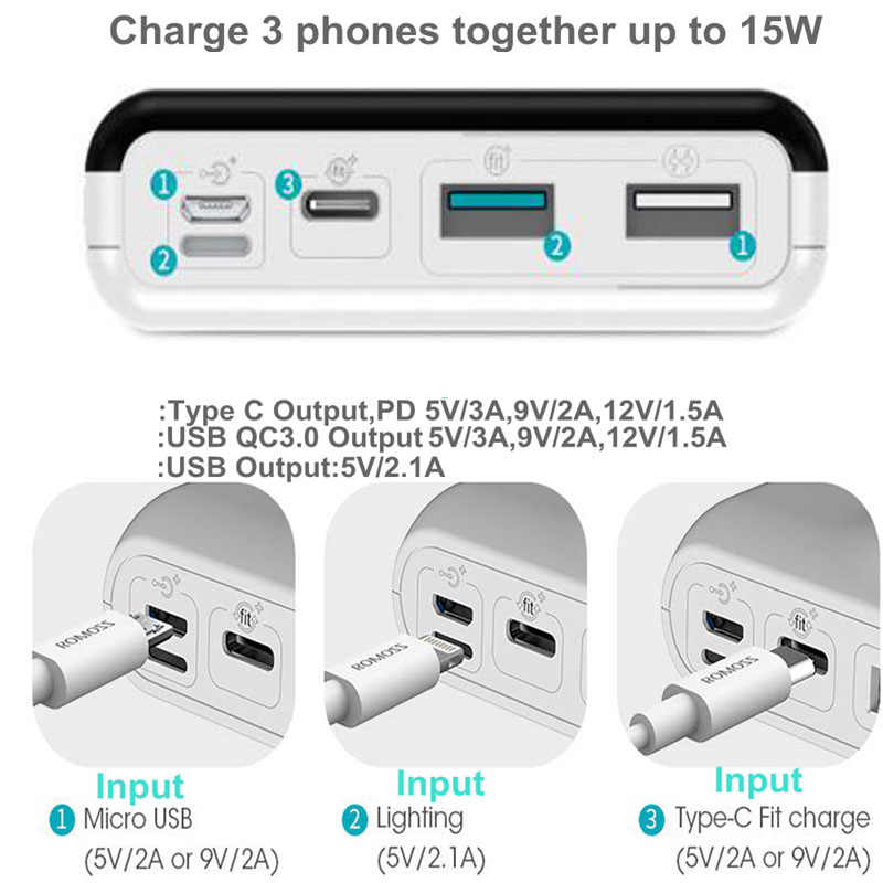 Romoss Quick Charge 3,0 power Bank 20000 mah PD type C power bank QC3.0 9 V 12 V Для iPhone X Xiaomi huawei samsung Quick Charge