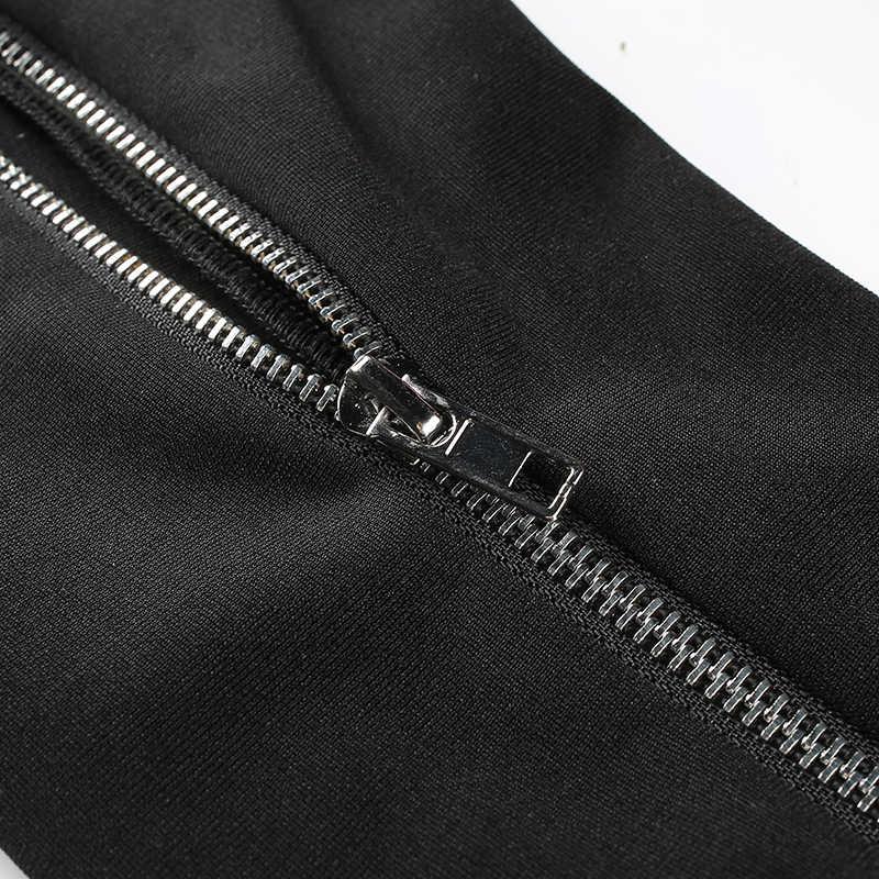 Weekeep, женские модные штаны с боковой молнией и низкой талией, черные эластичные узкие уличные штаны, длинные штаны, женские брюки
