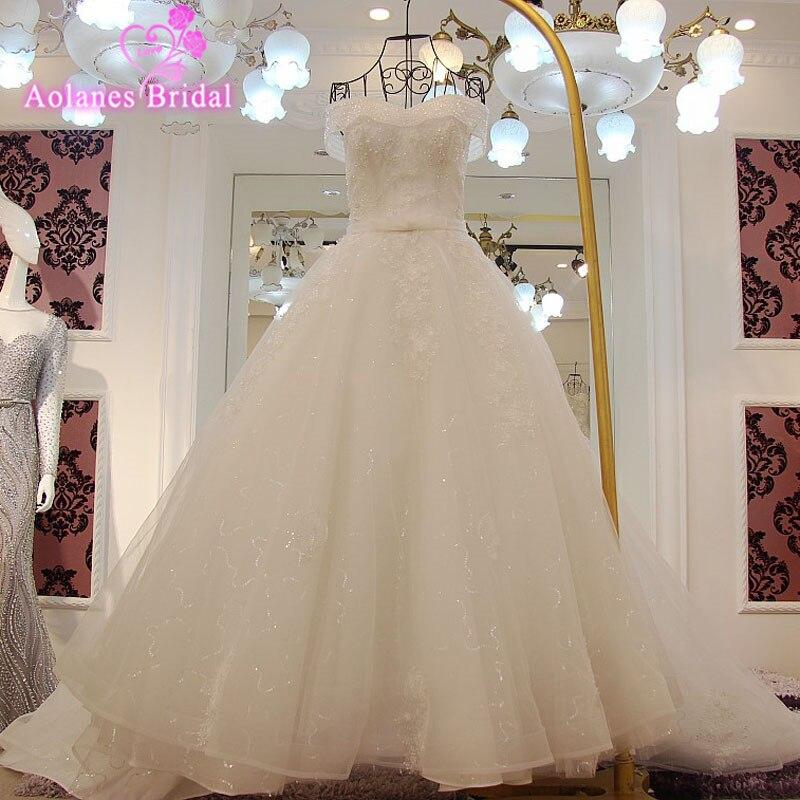 Photo réelle hors de l'épaule doux coeur à lacets cristal robe de mariée 2017 avec perles paillettes Appliques Mariage robes de mariée