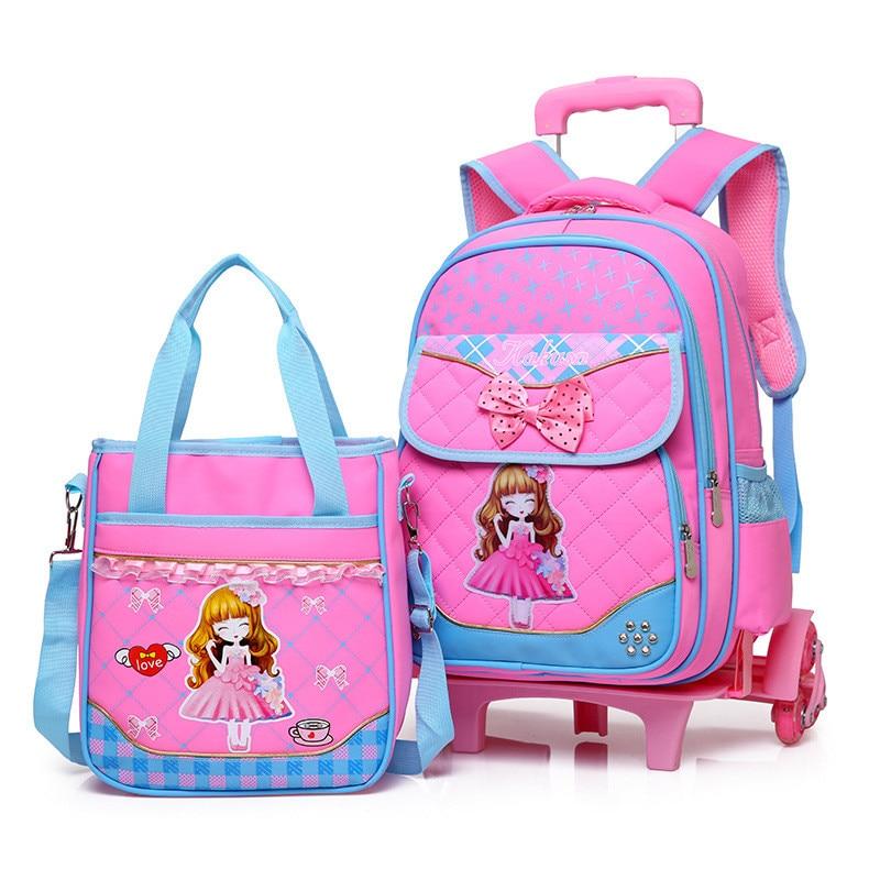 2 pièces enfants mignon bande dessinée imperméable sacs d'école pour les filles mode voyage chariot sac sacs à dos sac à roulettes école sac à dos