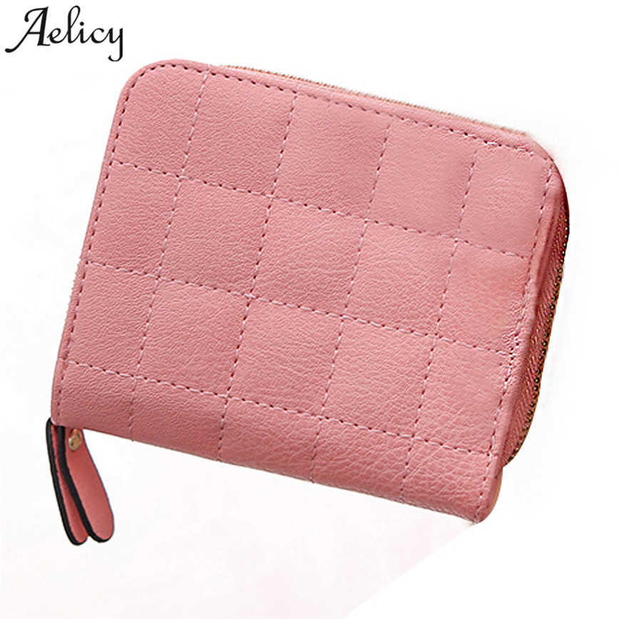 Aelicy Short Purse Small Wallet Brief Women Card-Holder Coin-Pocket Zipper Plaid C25